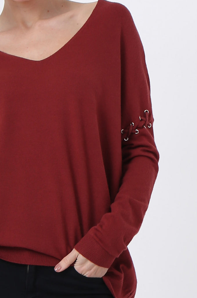 SJ0339-RED LACE UP SLEEVE PANELLED JUMPER view 5