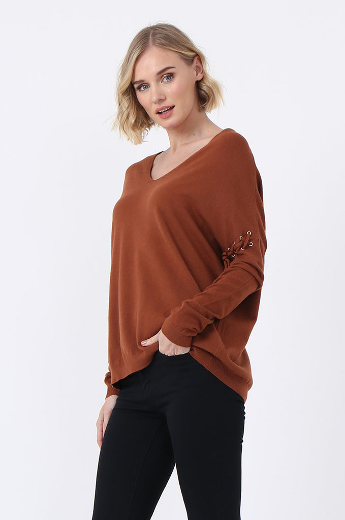 SJ0339-RUST LACE UP SLEEVE PANELLED JUMPER view 2
