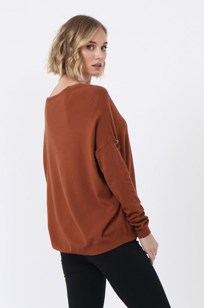 SJ0339-RUST LACE UP SLEEVE PANELLED JUMPER view 3