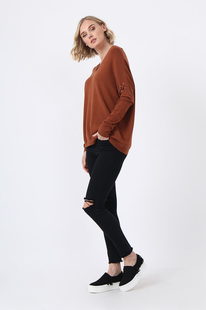 SJ0339-RUST LACE UP SLEEVE PANELLED JUMPER view 4