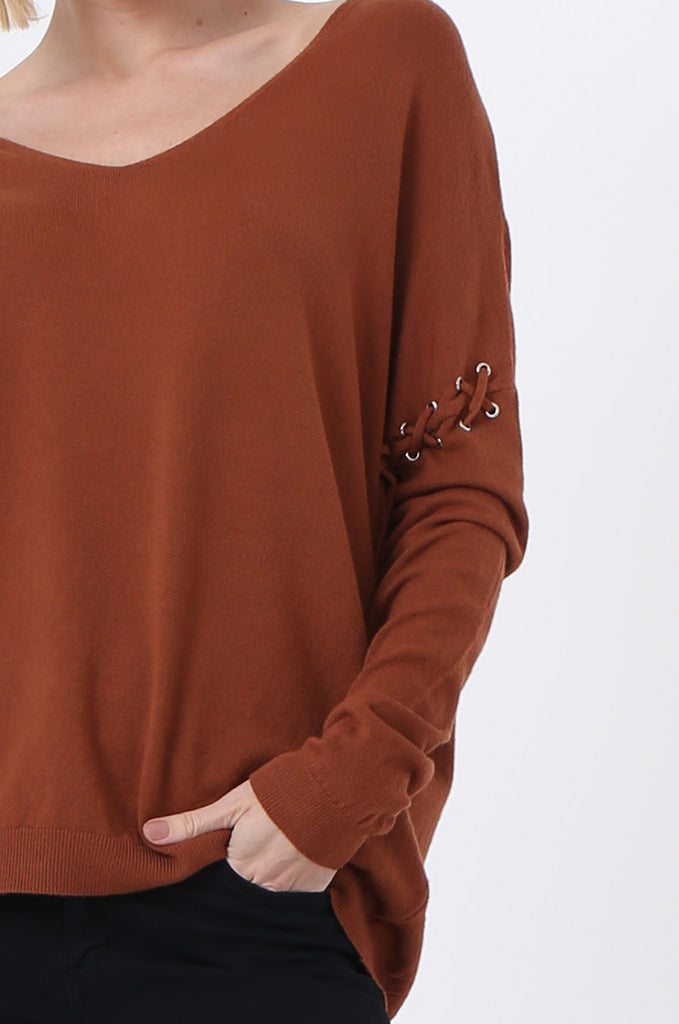 SJ0339-RUST LACE UP SLEEVE PANELLED JUMPER view 5