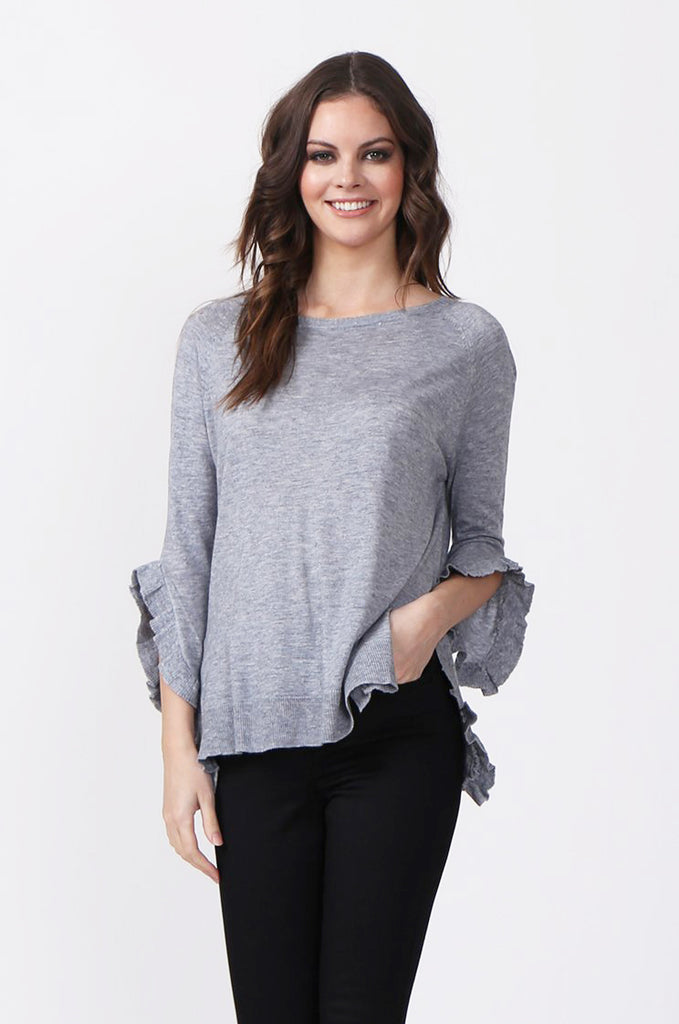 SJ0340-GREY RUFFLE HEM JUMPER view main view