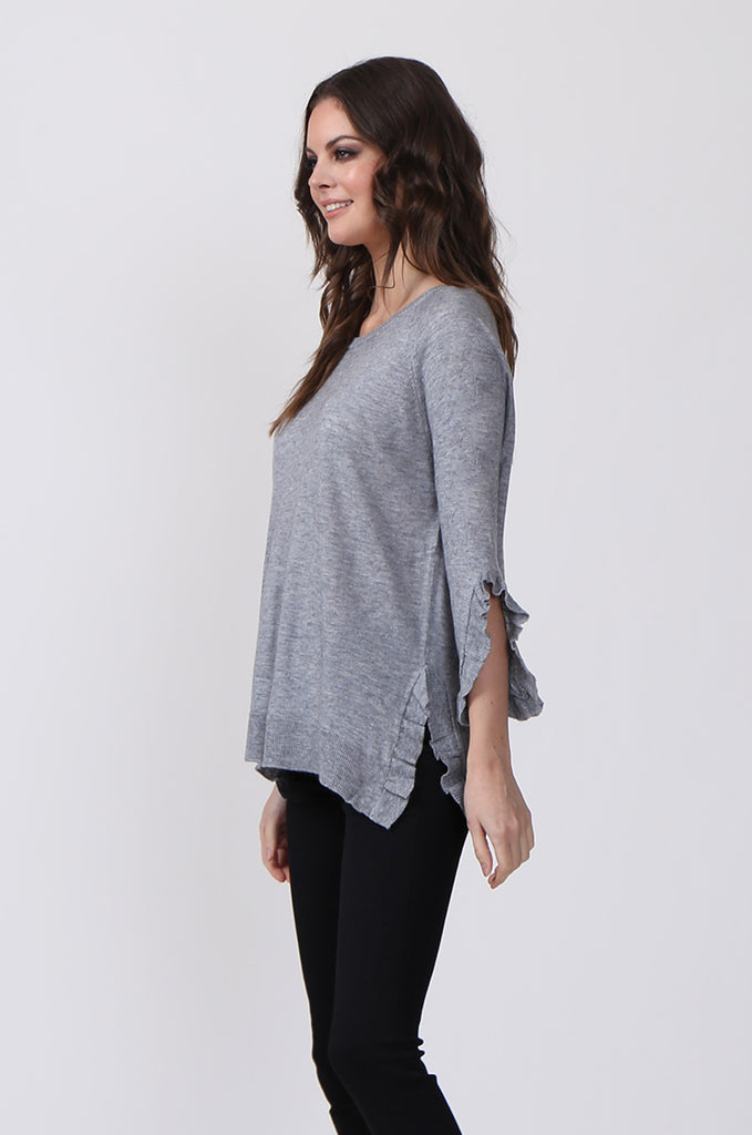 SJ0340-GREY RUFFLE HEM JUMPER view 2