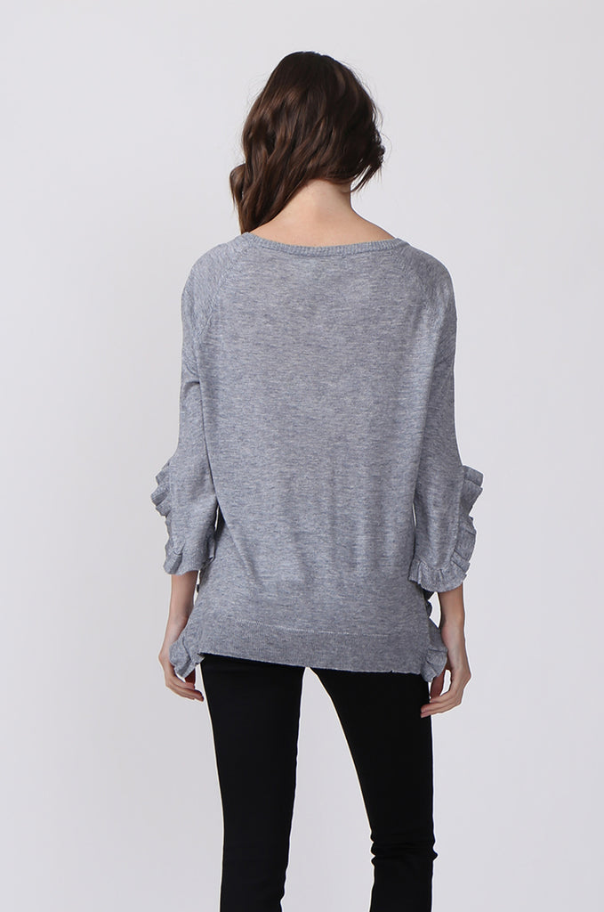 SJ0340-GREY RUFFLE HEM JUMPER view 3