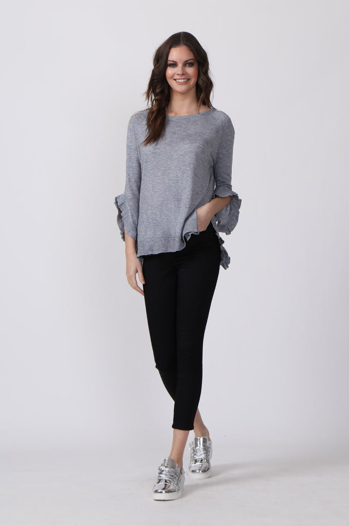 SJ0340-GREY RUFFLE HEM JUMPER view 4