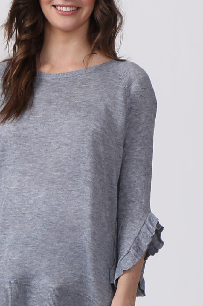 SJ0340-GREY RUFFLE HEM JUMPER view 5