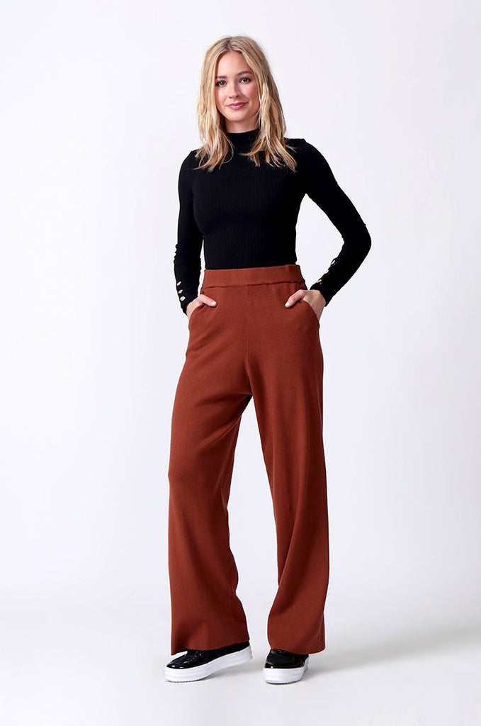 SJ0344-RUST KNIT PANT WITH POCKET