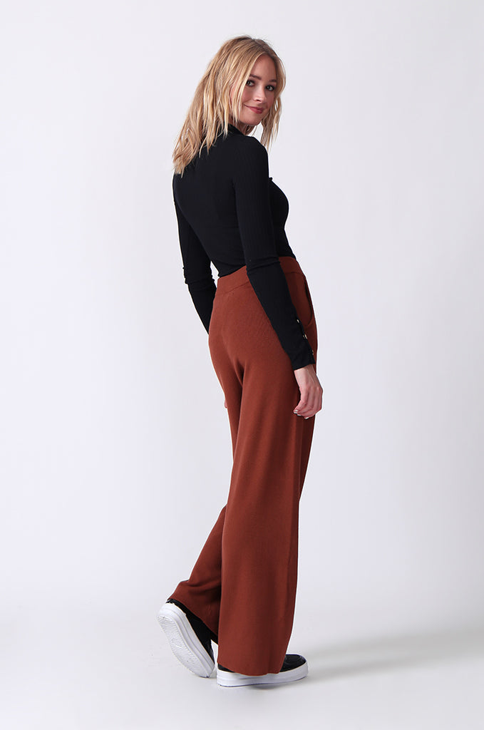 SJ0344-RUST KNIT PANT WITH POCKET view 3