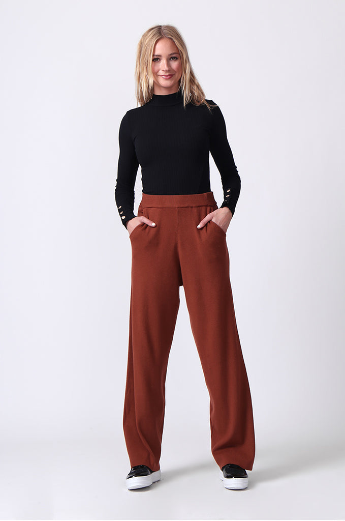SJ0344-RUST KNIT PANT WITH POCKET view 4
