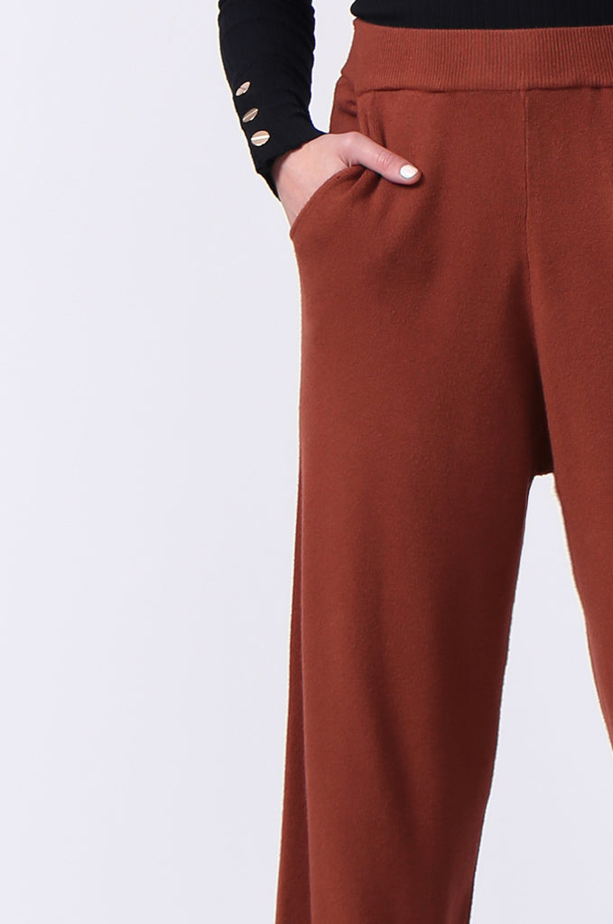 SJ0344-RUST KNIT PANT WITH POCKET view 6
