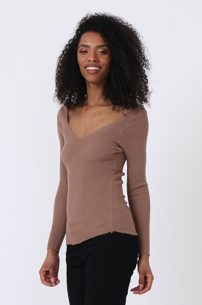 SJ0348-BROWN DEEP V NECK JUMPER view main view