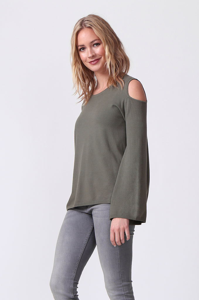 SJ0349-GREEN CUT OUT SHOULDER JUMPER view 2