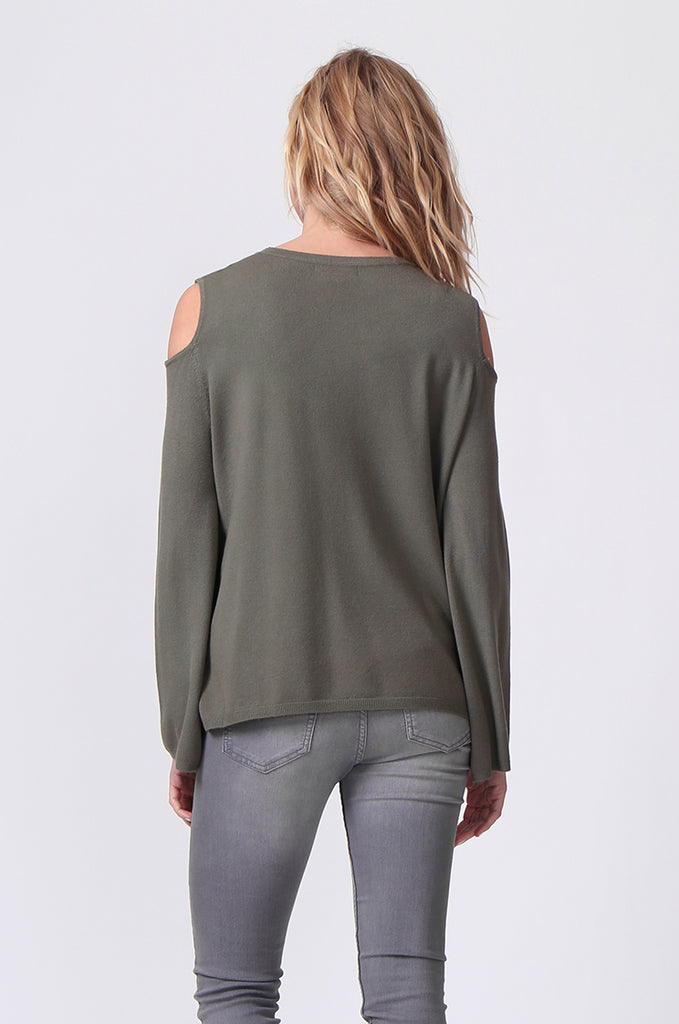 SJ0349-GREEN CUT OUT SHOULDER JUMPER view 3