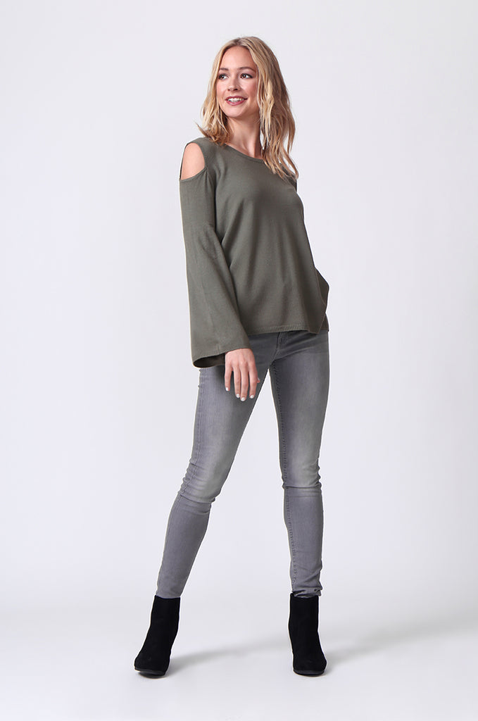 SJ0349-GREEN CUT OUT SHOULDER JUMPER view 4