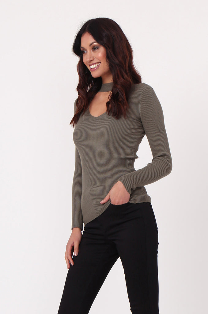 SJ0350-GREEN KEYHOLE CUT OUT RIB KNIT JUMPER view 2