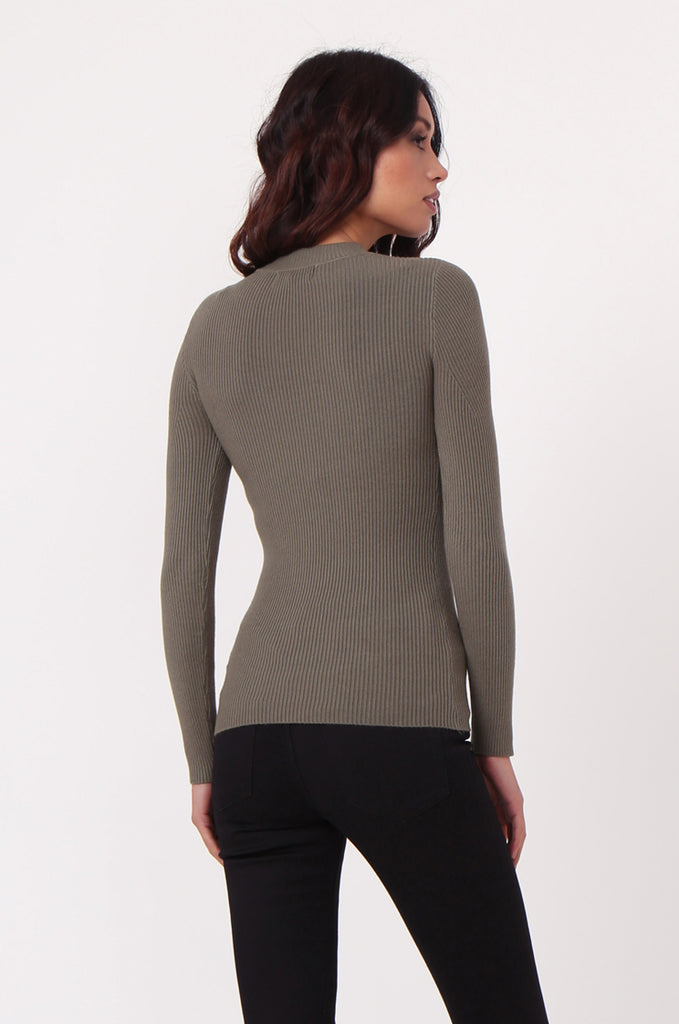 SJ0350-GREEN KEYHOLE CUT OUT RIB KNIT JUMPER view 3