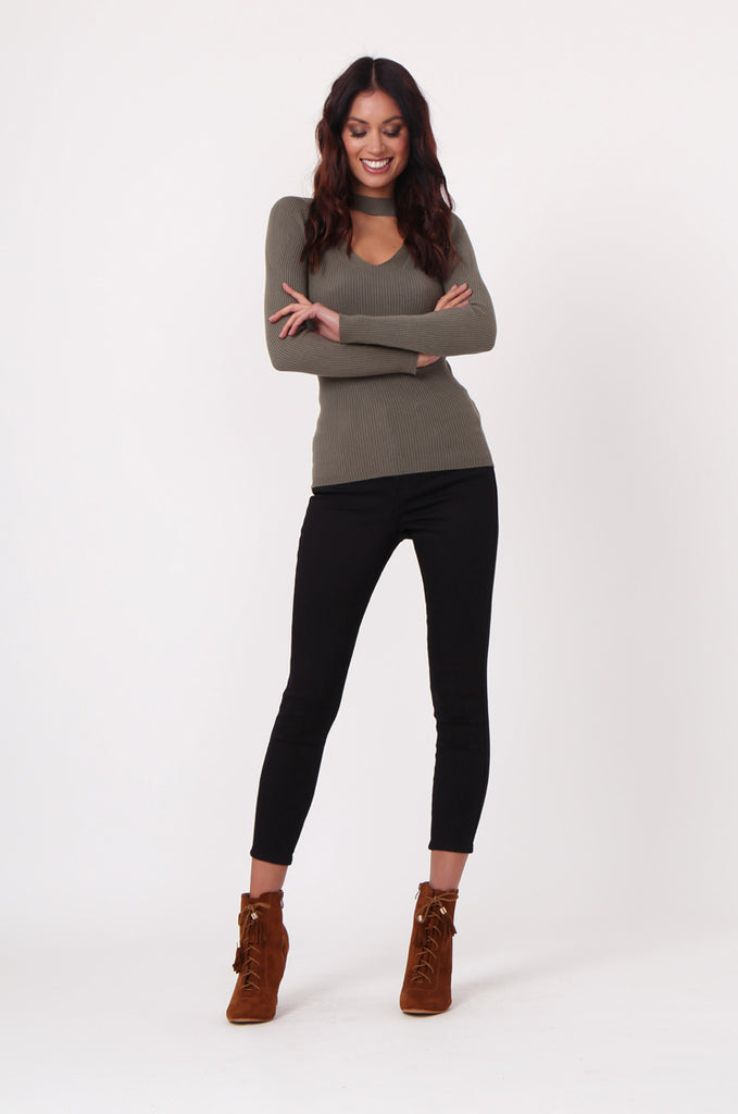 SJ0350-GREEN KEYHOLE CUT OUT RIB KNIT JUMPER view 4