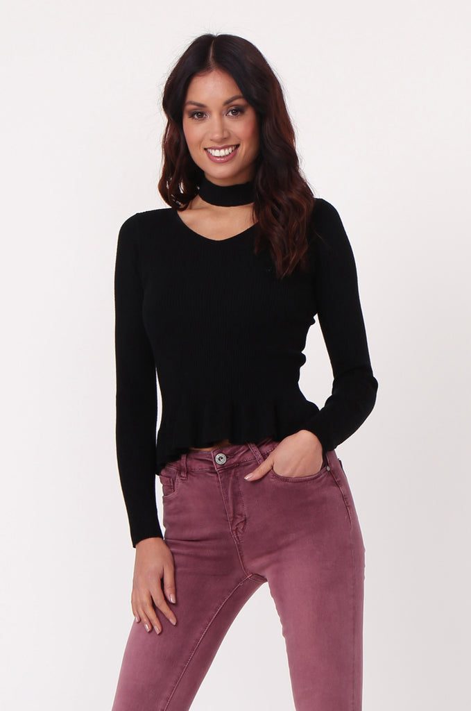 SJ0352-BLACK CHOKER RUFFLE HEM JUMPER view main view