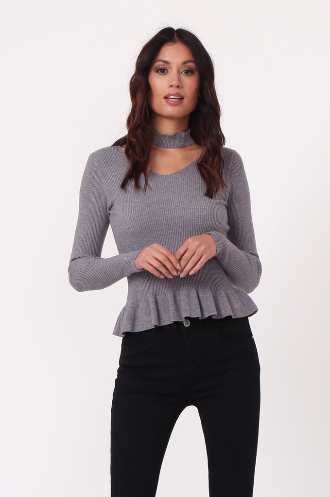 SJ0352-GREY CHOKER RUFFLE HEM JUMPER view 2