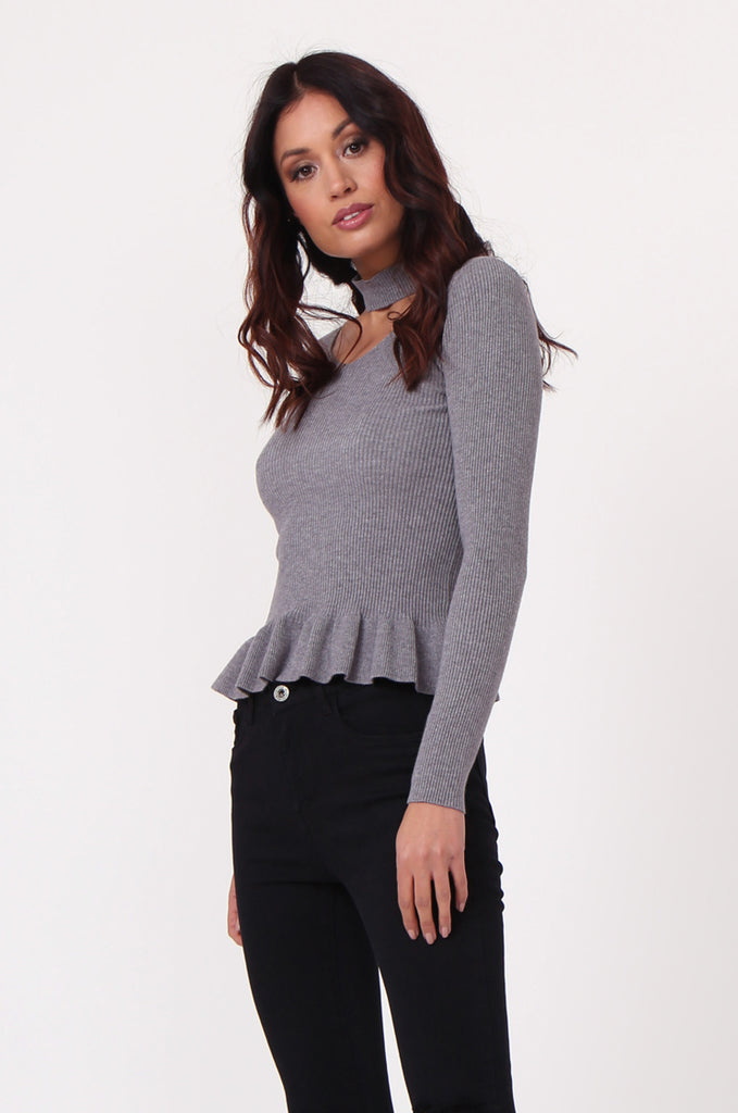 SJ0352-GREY CHOKER RUFFLE HEM JUMPER view main view