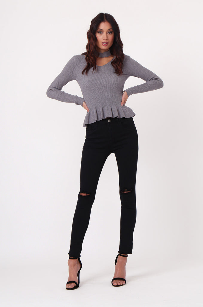SJ0352-GREY CHOKER RUFFLE HEM JUMPER view 4