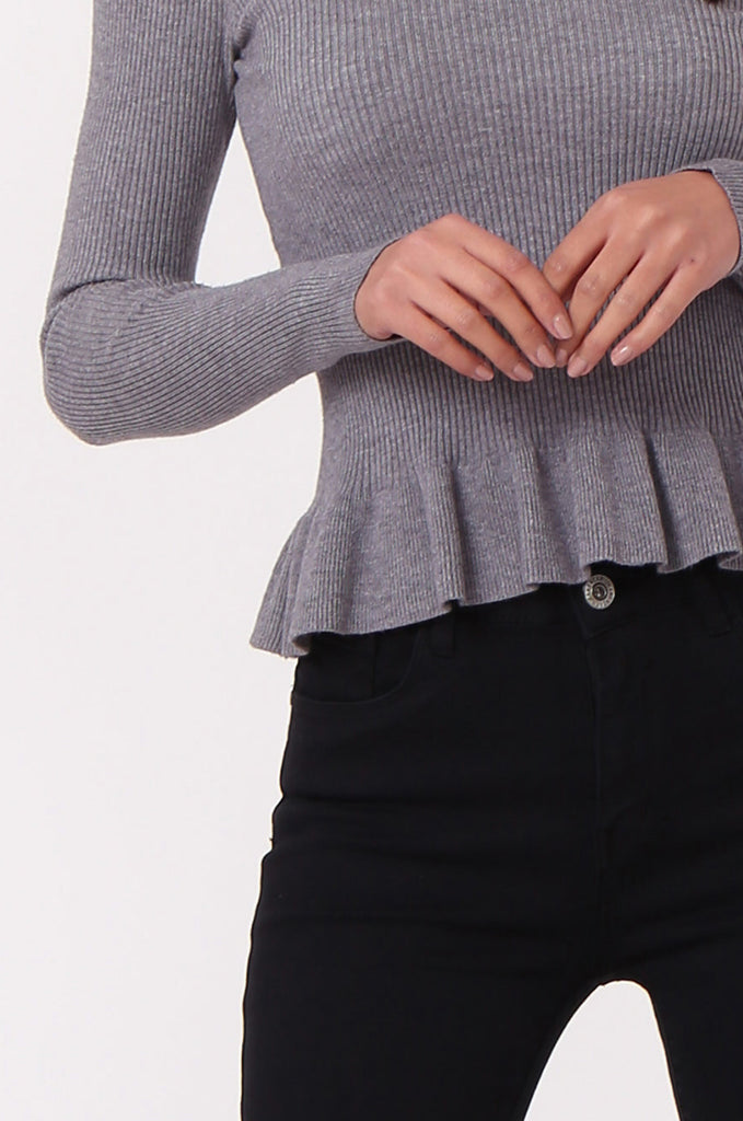 SJ0352-GREY CHOKER RUFFLE HEM JUMPER view 5