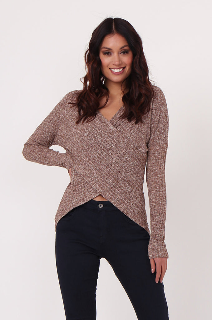 SJ0354-BROWN WRAP FRONT RIB KNIT JUMPER view main view