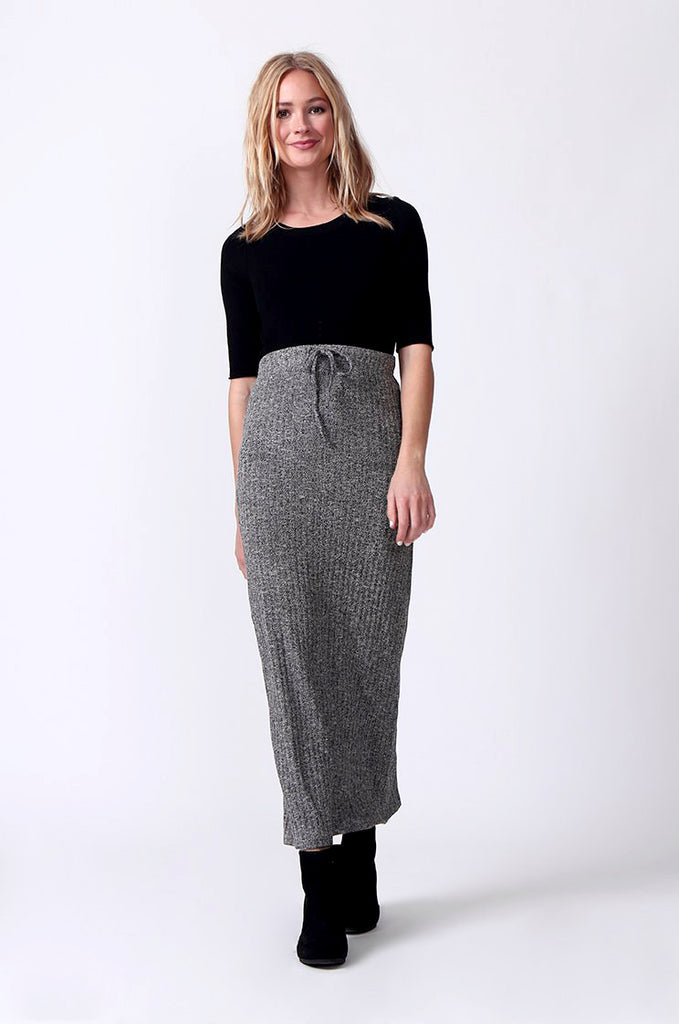SJ0355-GREY TIE WAIST RIB KNIT MIDI SKIRT