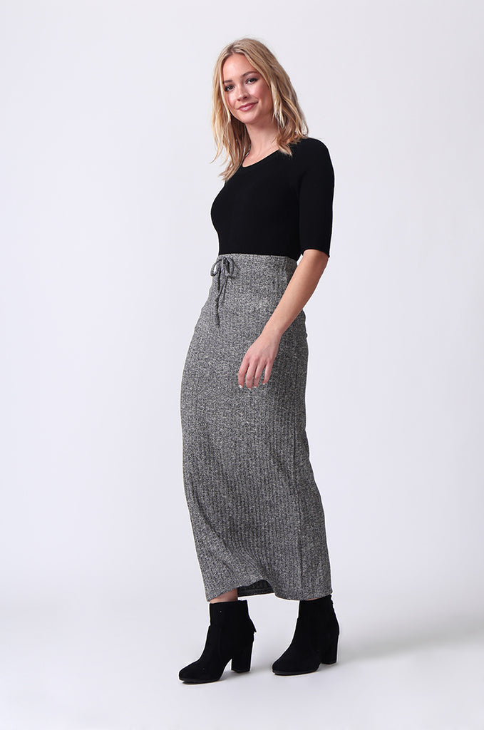 SJ0355-GREY TIE WAIST RIB KNIT MIDI SKIRT view 3