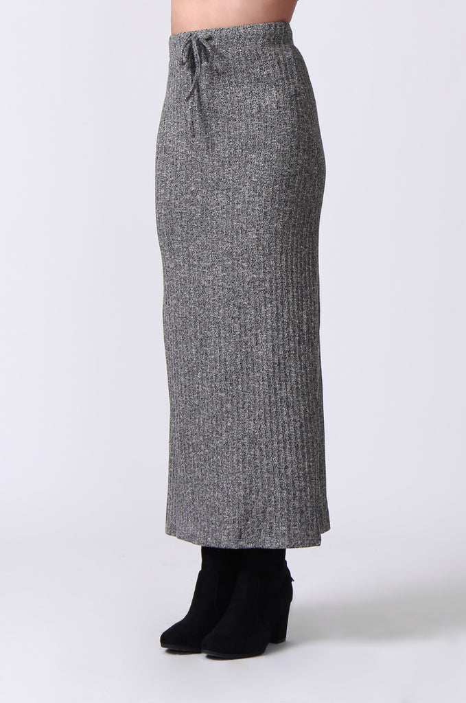 SJ0355-GREY TIE WAIST RIB KNIT MIDI SKIRT view 5