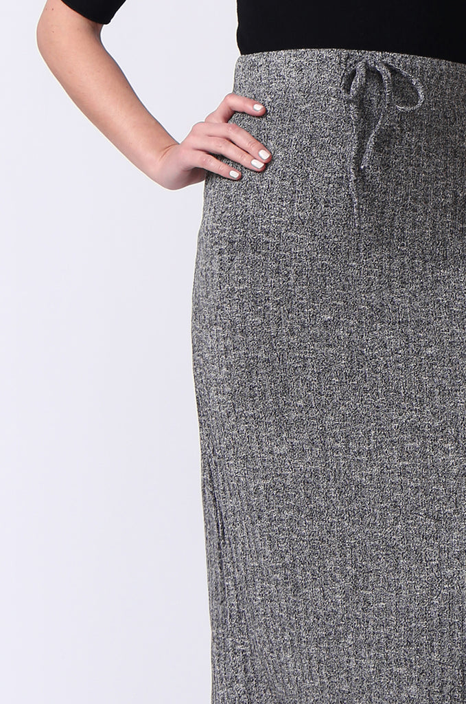 SJ0355-GREY TIE WAIST RIB KNIT MIDI SKIRT view 6