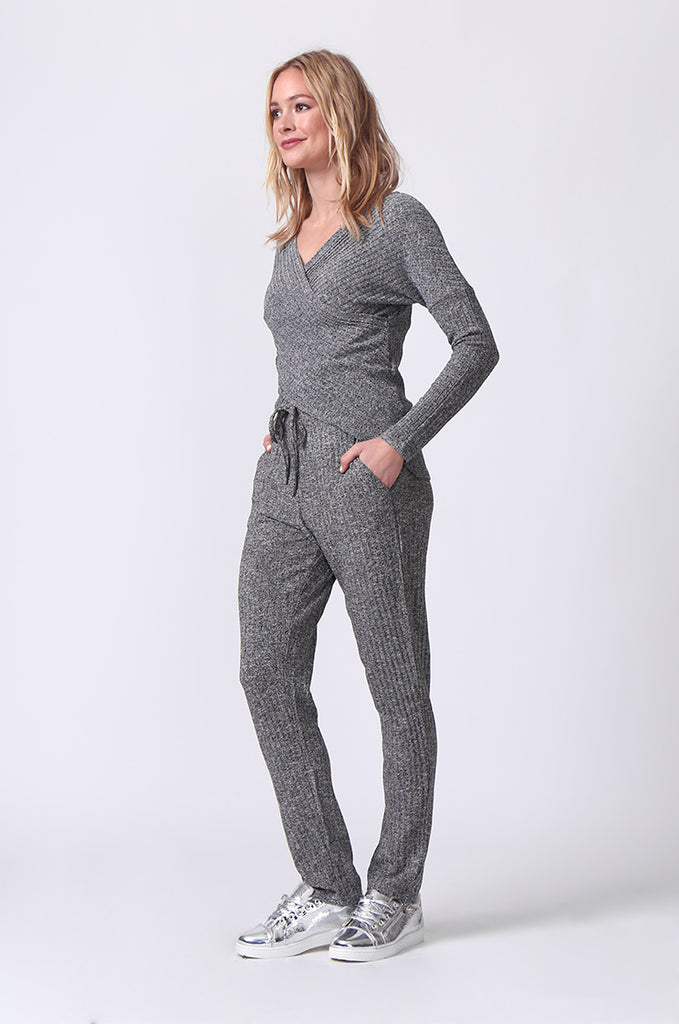 SJ0356-GREY RIB KNIT PANTS