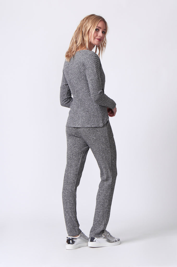 SJ0356-GREY RIB KNIT PANTS view 4