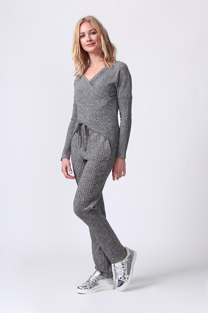 SJ0356-GREY RIB KNIT PANTS view 3