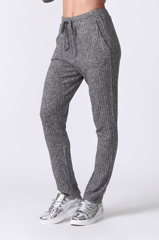 SJ0356-GREY RIB KNIT PANTS view 5