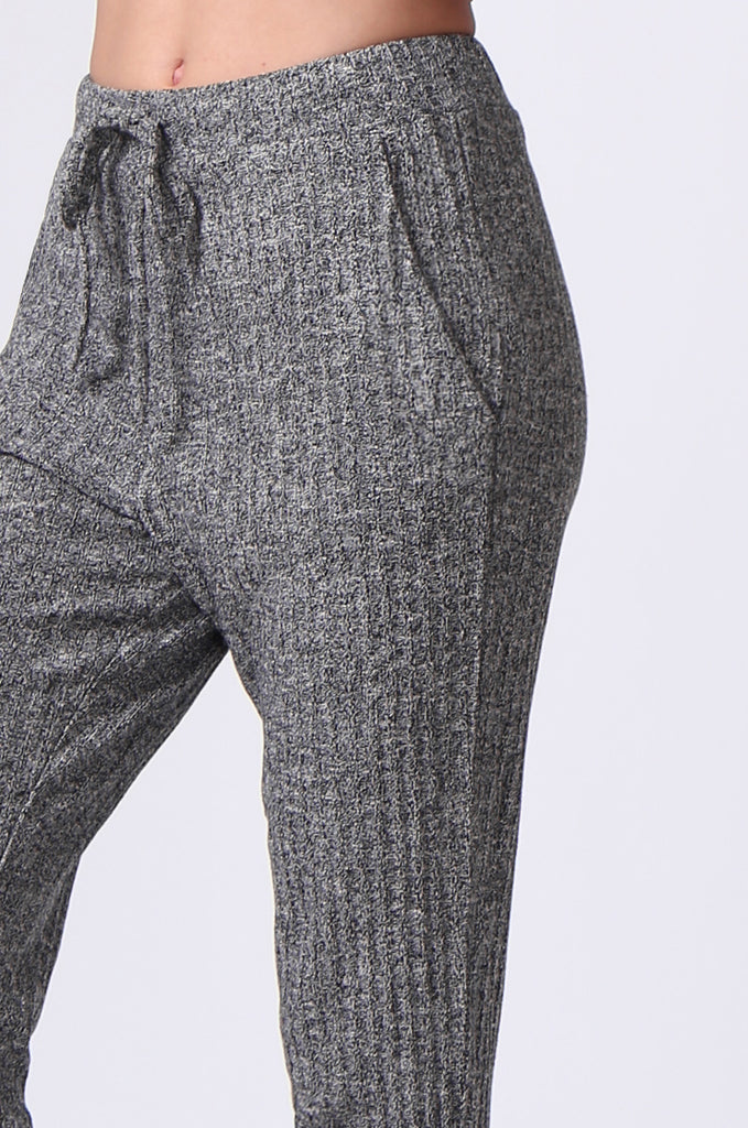 SJ0356-GREY RIB KNIT PANTS view 6