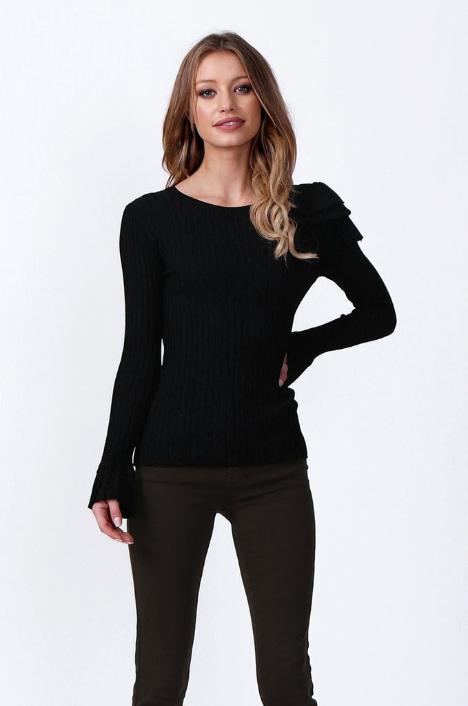 SJ0358-BLACK SINGLE FRILL SHOULDER JUMPER
