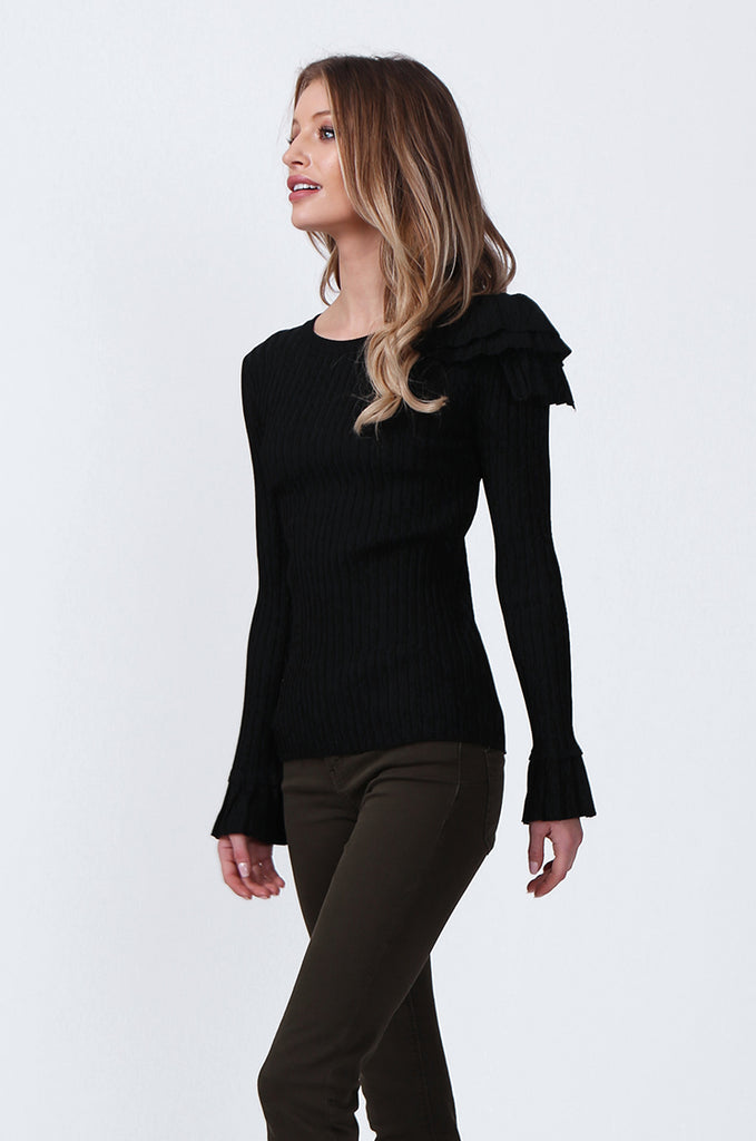 SJ0358-BLACK SINGLE FRILL SHOULDER JUMPER view 2
