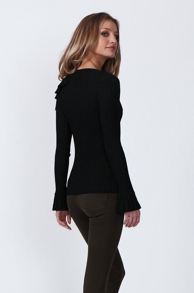 SJ0358-BLACK SINGLE FRILL SHOULDER JUMPER view 3