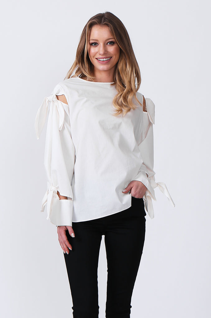 SJ0359-WHITE TIE SLEEVE TOP view main view