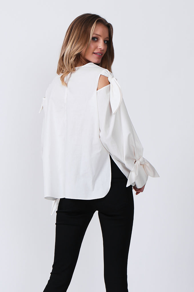 SJ0359-WHITE TIE SLEEVE TOP view 3
