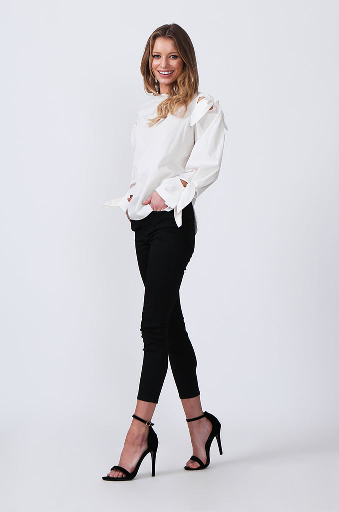 SJ0359-WHITE TIE SLEEVE TOP view 4