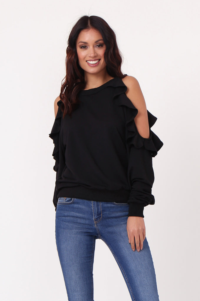 SJ0363-BLACK COLD SHOULDER RUFFLE SIDE KNIT TOP view 2