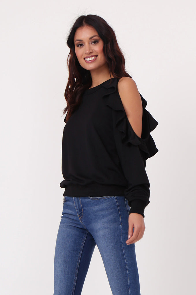 SJ0363-BLACK COLD SHOULDER RUFFLE SIDE KNIT TOP view main view