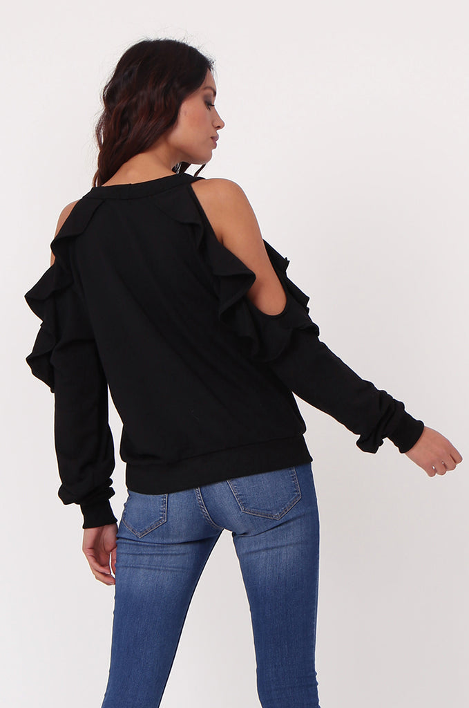 SJ0363-BLACK COLD SHOULDER RUFFLE SIDE KNIT TOP view 3