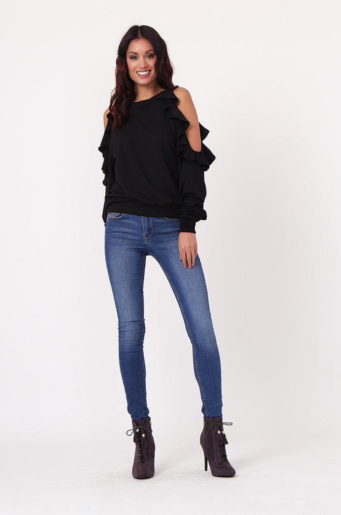 SJ0363-BLACK COLD SHOULDER RUFFLE SIDE KNIT TOP view 4