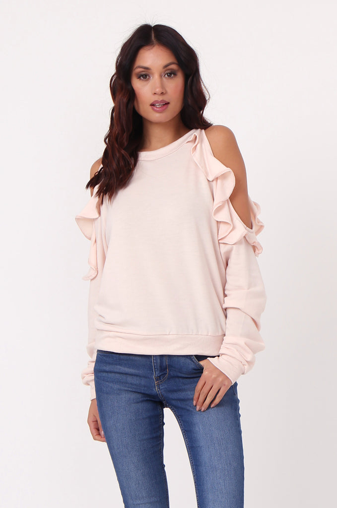 SJ0363-PINK COLD SHOULDER RUFFLE SIDE KNIT TOP