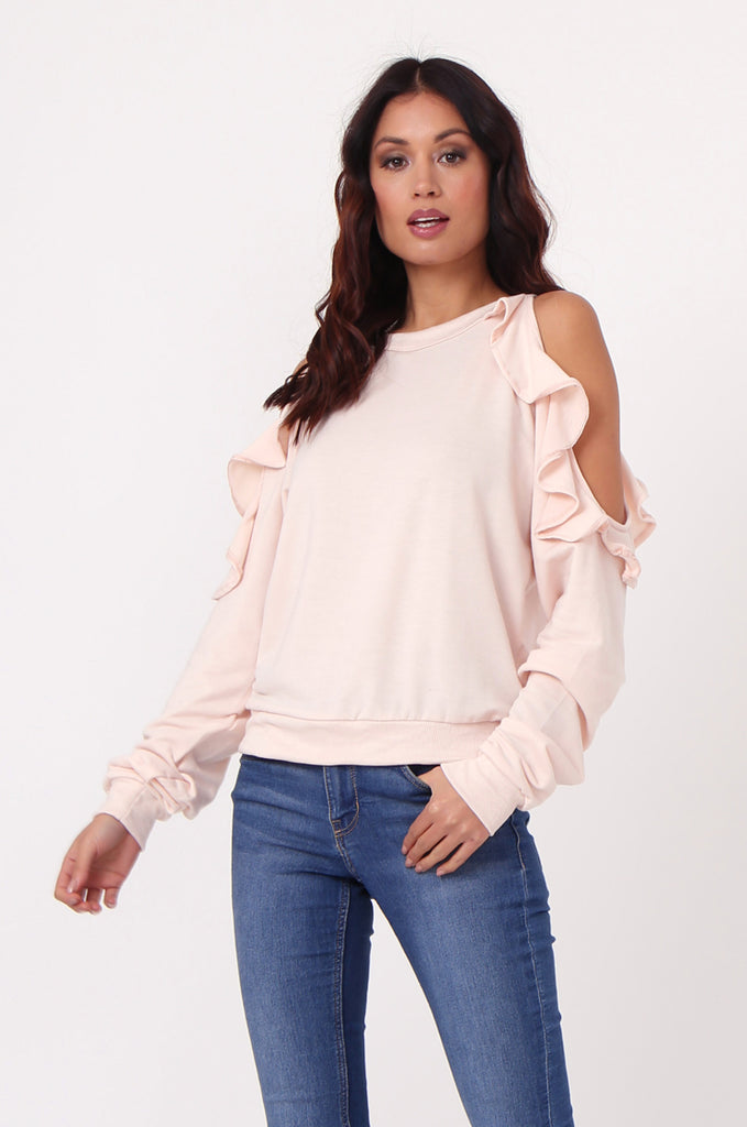 SJ0363-PINK COLD SHOULDER RUFFLE SIDE KNIT TOP view 2