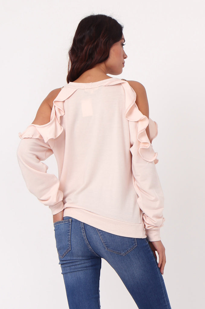 SJ0363-PINK COLD SHOULDER RUFFLE SIDE KNIT TOP view 3
