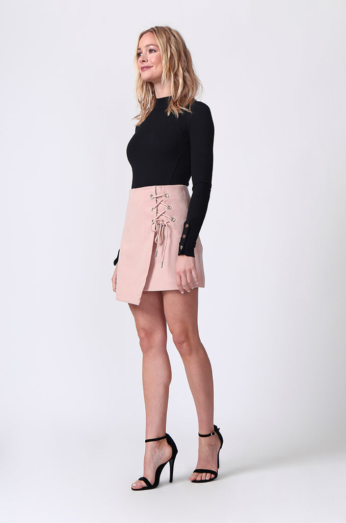 SJ0364-PINK LACE UP FRONT MINI SKIRT view 3